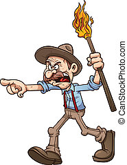Angry old man carrying a torch. Vector clip art illustration...