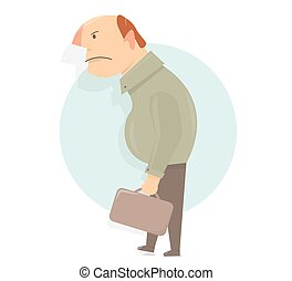 Angry old man character. Cartoon character comic and funny style.
