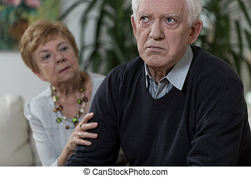 Angry old man - Lady is apologisong her sad and angry...