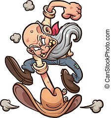 Angry old miner slamming his hat on the ground. Vector clip...