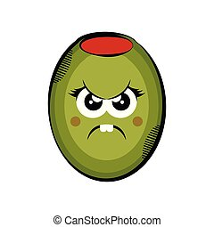 Angry olive cartoon. Colored sketch