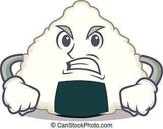 Angry Onigiri mascot cartoon style