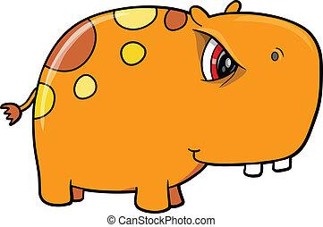 Angry Orange Hippopotamus Vector