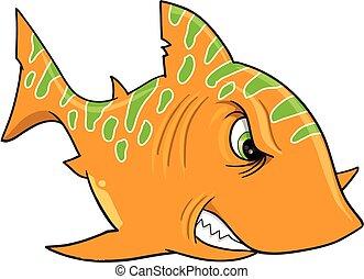 Angry Orange Shark Vector Art