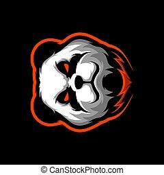 ANGRY PANDA MASCOT LOGO GAMIN VECTOR ILLUSTRATION