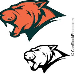 Angry Panther head with opened mouth. Sport team mascot. Design