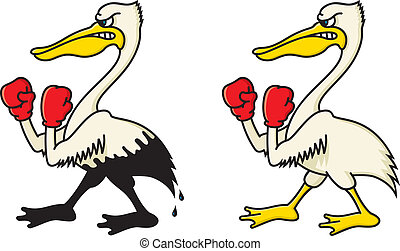 Angry Pelican - Vector illustration of a pelican soaked in...