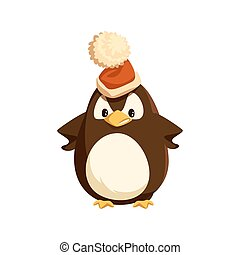 Angry Penguin in Santa Hat Isolated Character - Angry...