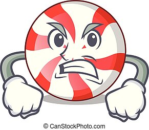 Angry peppermint candy mascot cartoon