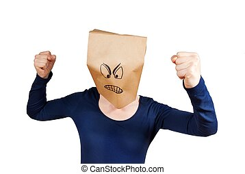 angry person - a person with an angry paper bag smiley on...