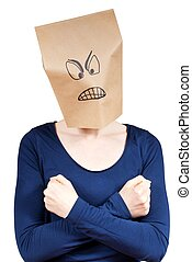 angry person defending itself - a angry looking person in ...
