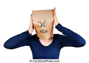 angry person - a angry person with a paper bag had