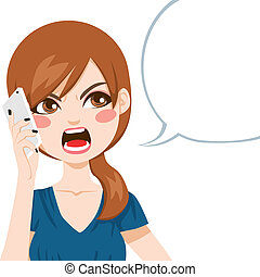 Angry Phone Call - Young woman upset screaming angry in a...