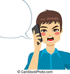 Angry Phone Conversation - Young guy angry shouting having a...