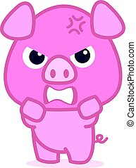 Angry pig cartoon character