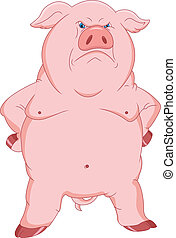 angry pig cartoon