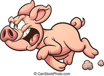 Angry pig - Angry cartoon pig. Vector clip art illustration...