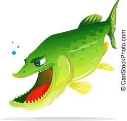 Angry Pike Cartoon - Angry hungry pike fish cartoon open...