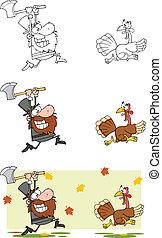 Angry Pilgrim Man Chasing A Turkey
