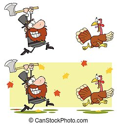 Angry Pilgrim Man Chasing With Axe A Turkey. Collection