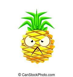 Angry pineapple face. Cute cartoon emoji character vector Illustration