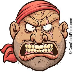 Angry pirate - Angry cartoon pirate face. Vector clip art...