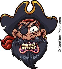Angry pirate - Angry cartoon pirate face. Vector clip art ...