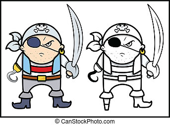 Angry Pirate Captain - Vector - Drawing Art of Cartoon Angry...