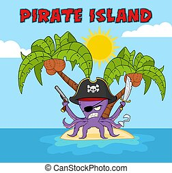 Angry Pirate Octopus Cartoon Mascot Character With A Sword Gun And Hook On A Tropical Island