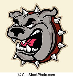 Angry Pitbull Head - Multi Colors Illustration Of Angry...