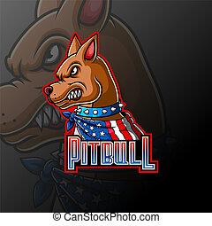 Angry pitbull wearing a scarf mascot logo