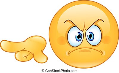 Angry emoticon pointing out or away