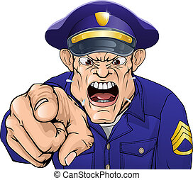 Illustration of a cartoon angry policeman cop or security guard shouting at the viewer