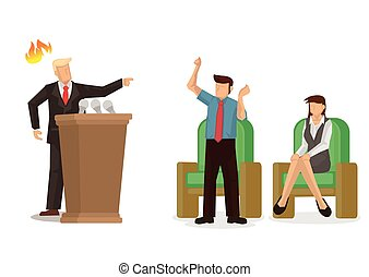 Angry politician screaming at the media. Vector illustration...