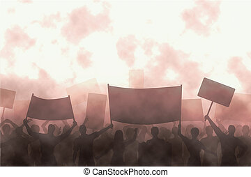 Angry protest - Illustration of a group of angry protesters
