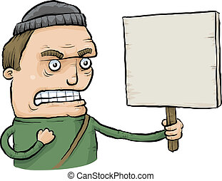 An angry cartoon protester holding a sign.