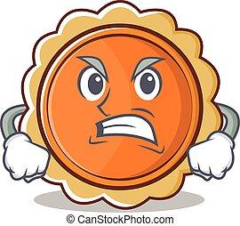 Angry pumpkin pie character cartoon