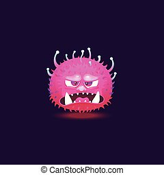 Angry purple pink monster with big teeth and glowing hairy skin floating with angry annoyed face.