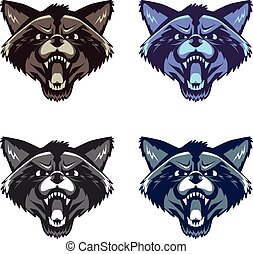 Angry raccoon face on white background - Vector image of an...