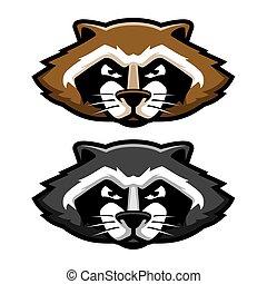 Angry Raccoon Head Logo Mascot Illustration in Cartoon Style