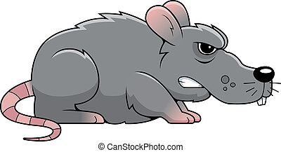 Angry Rat - A cartoon gray rat with an angry expression.