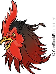 Angry Realistic Rooster Mascot Head Illustration