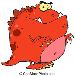 Red Dinosaur Cartoon Character