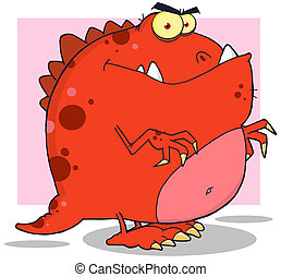 Angry Red Dinosaur - Red Dinosaur Cartoon Character