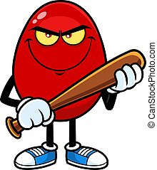 Angry Red Easter Egg Cartoon Character With Baseball Bat