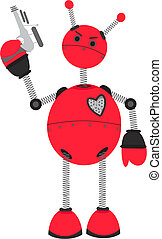 Angry Red Robot holding Ray Guy