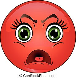Angry red smiley emoticon. Vector s
