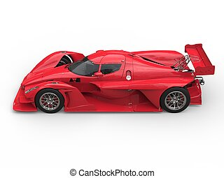 Angry red super race car - top down side view