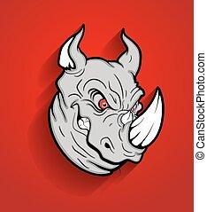 Angry Rhino Head Mascot Vector