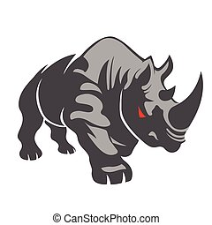 Angry rhino on the white background